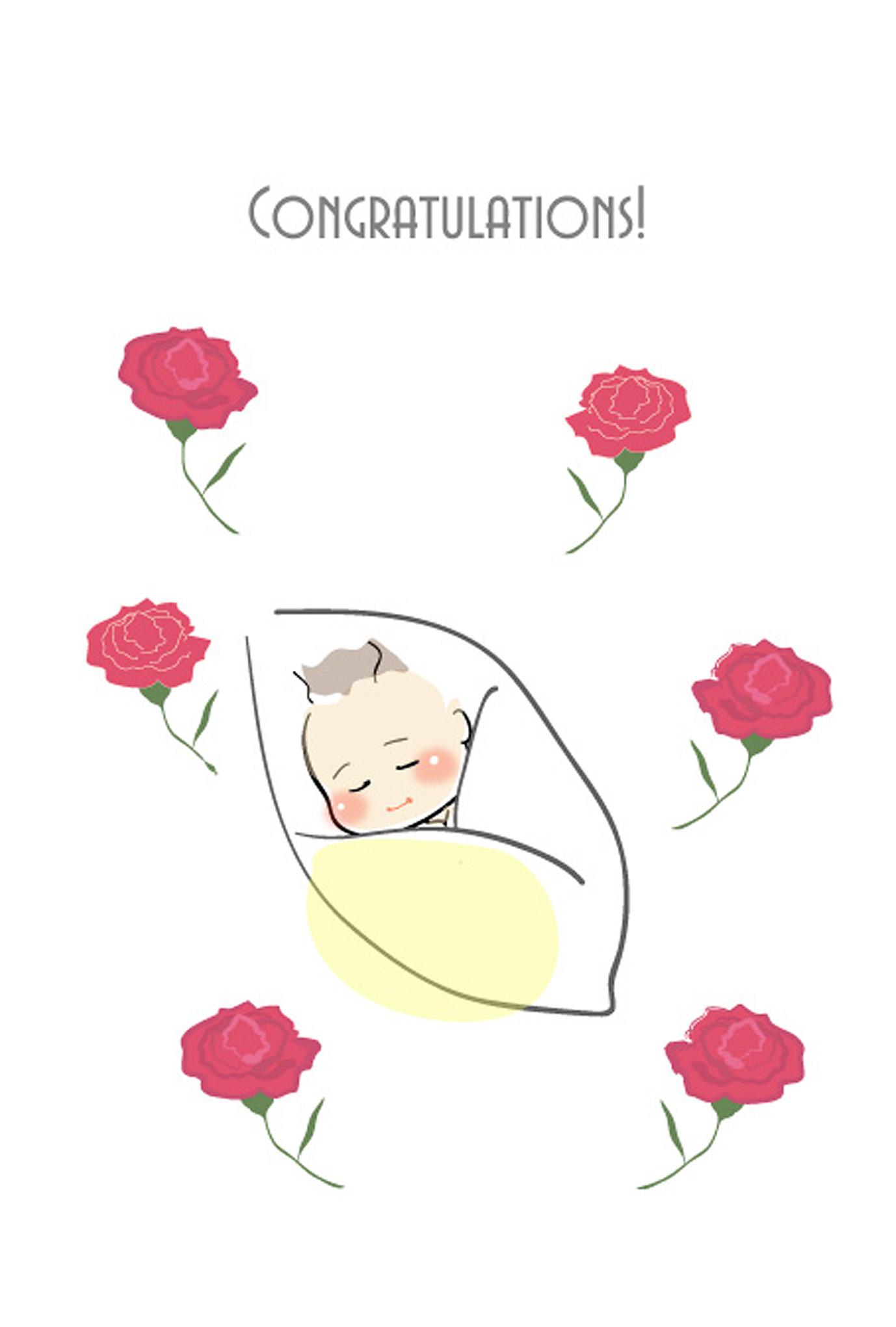 出産祝いはがきテンプレート・赤ちゃん1ダウンロード : 【無料印刷して