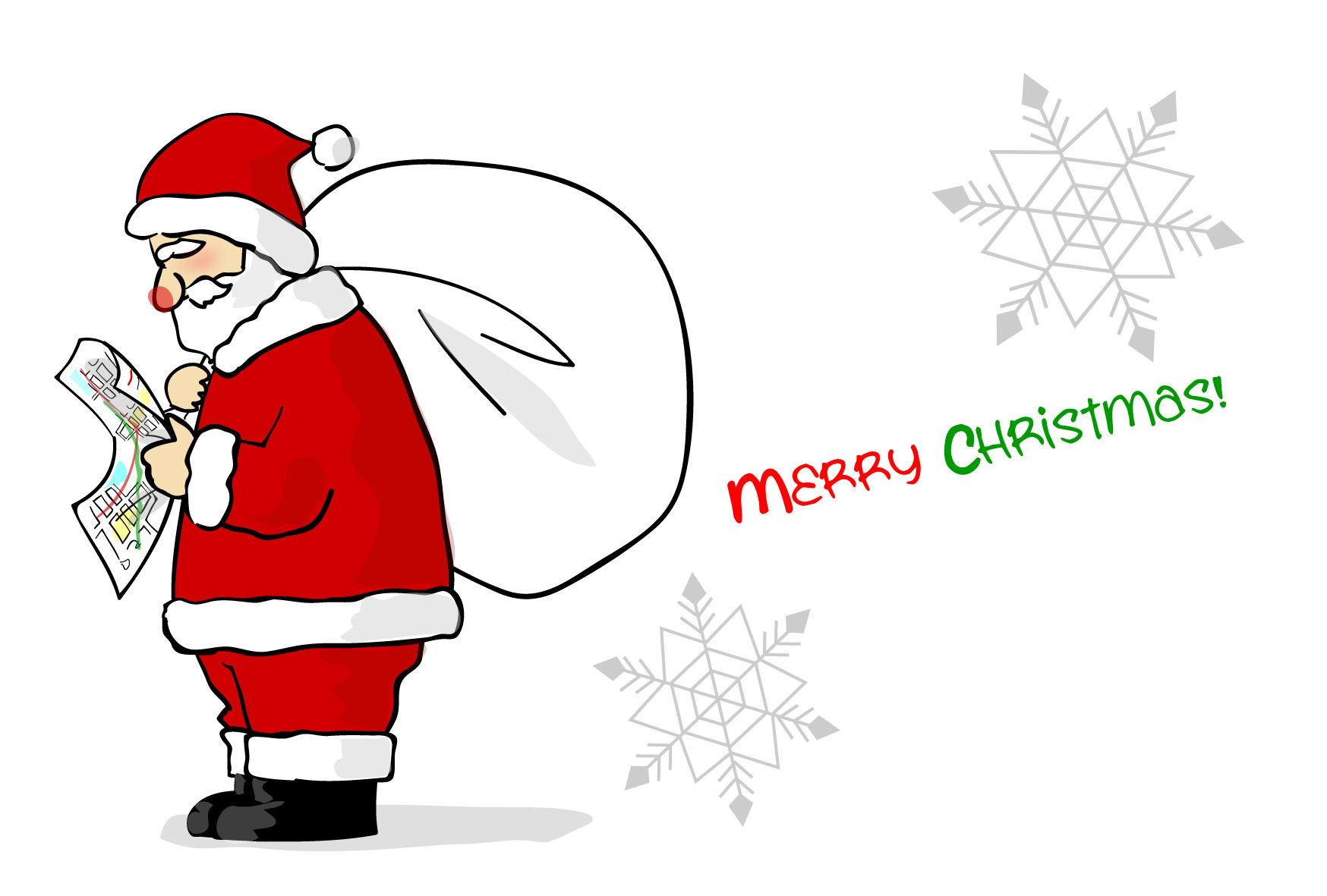 クリスマスのはがき・地図を見るサンタクロース-ダウンロード|かわいい