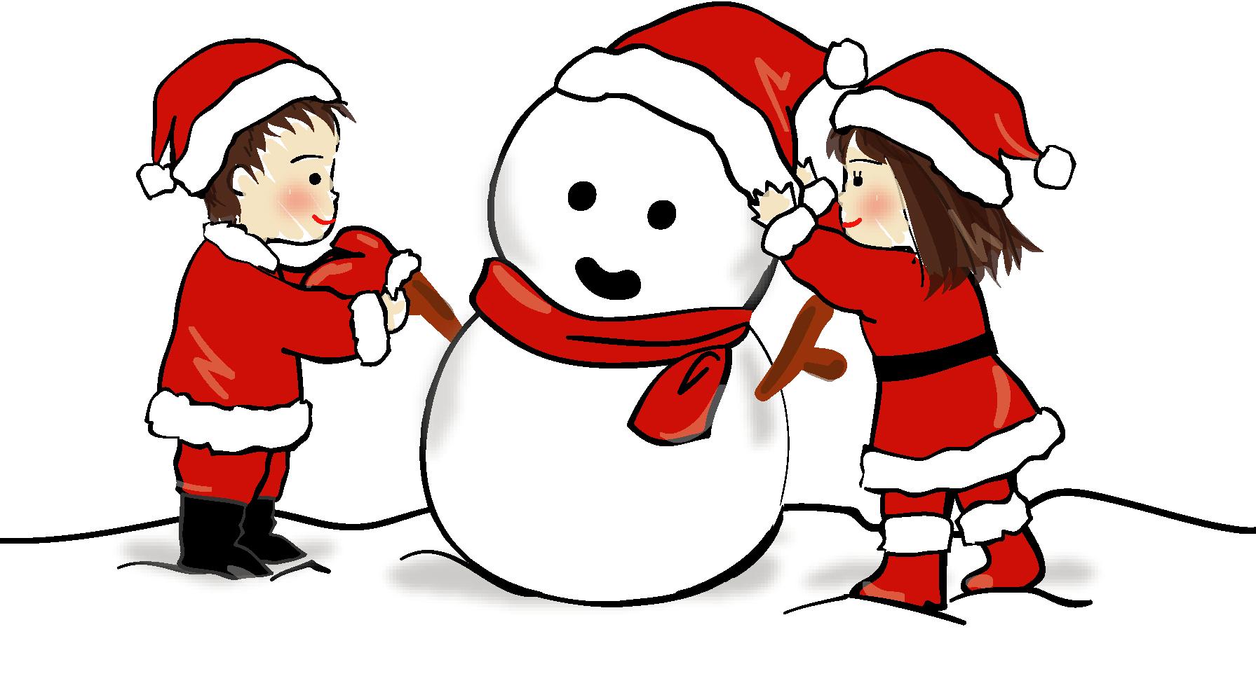クリスマス・雪だるまと子ども ...