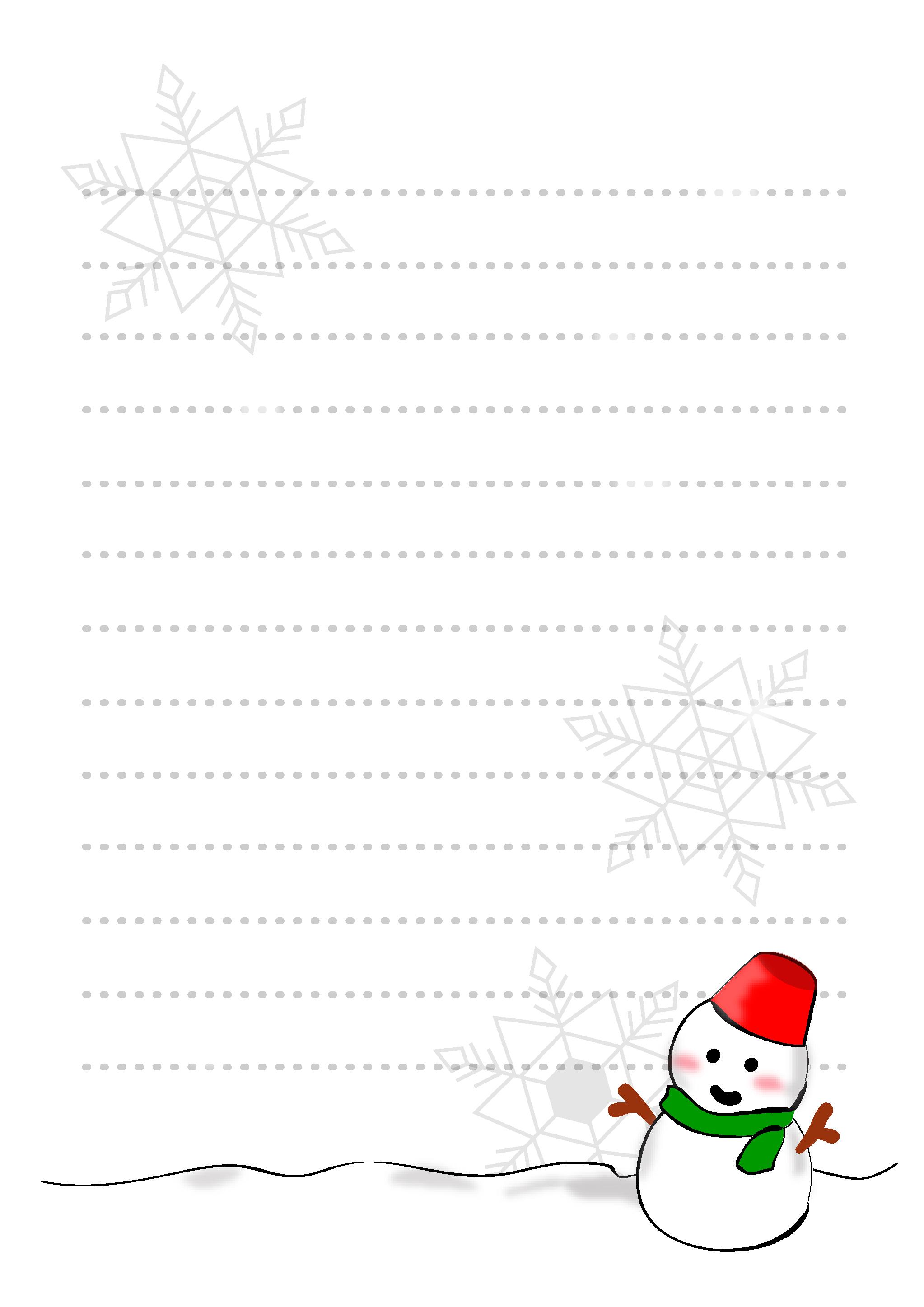 便箋テンプレート「雪だるま」ダウンロード|かわいい無料イラスト 印刷