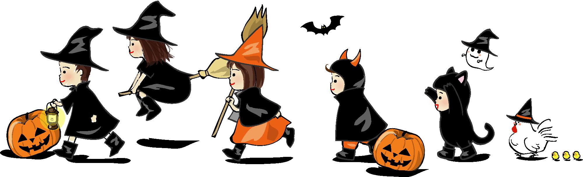 無料イラスト素材「ハロウィン・子どもたちの行進」ダウンロード