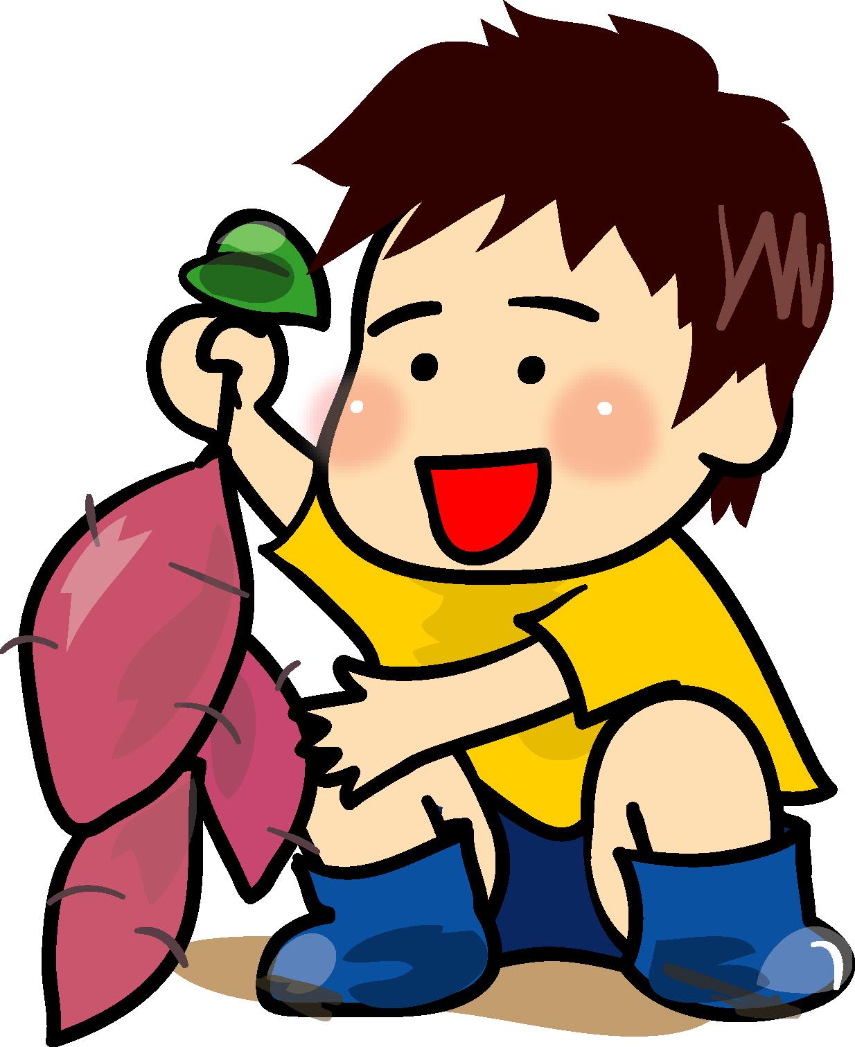 芋ほり・男の子-ダウンロード|かわいい無料イラスト 印刷素材