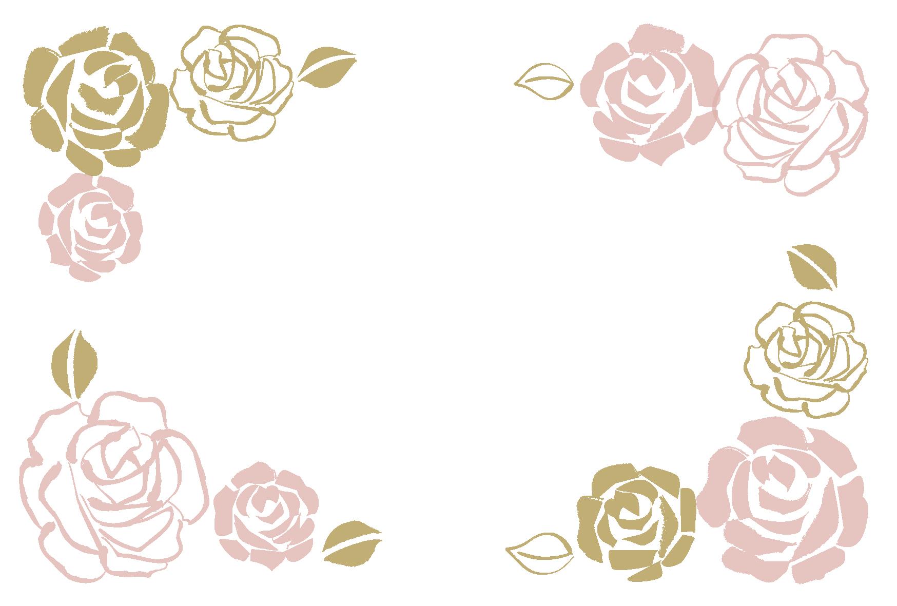 ウェディング・バラの飾り枠-ダウンロード|かわいい無料イラスト 印刷