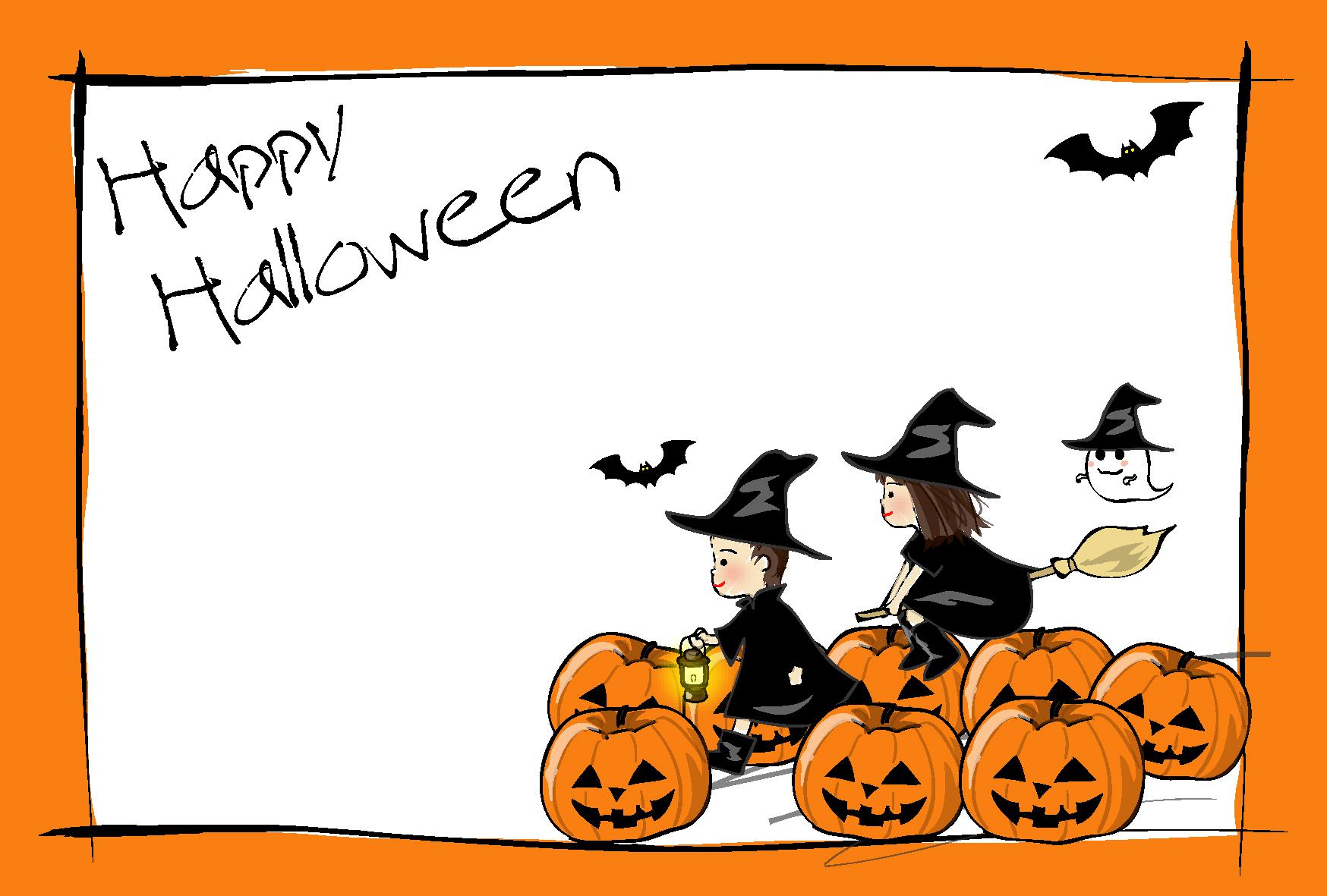 ハロウィン・子どもとかぼちゃ・オレンジの枠」はがきテンプレート