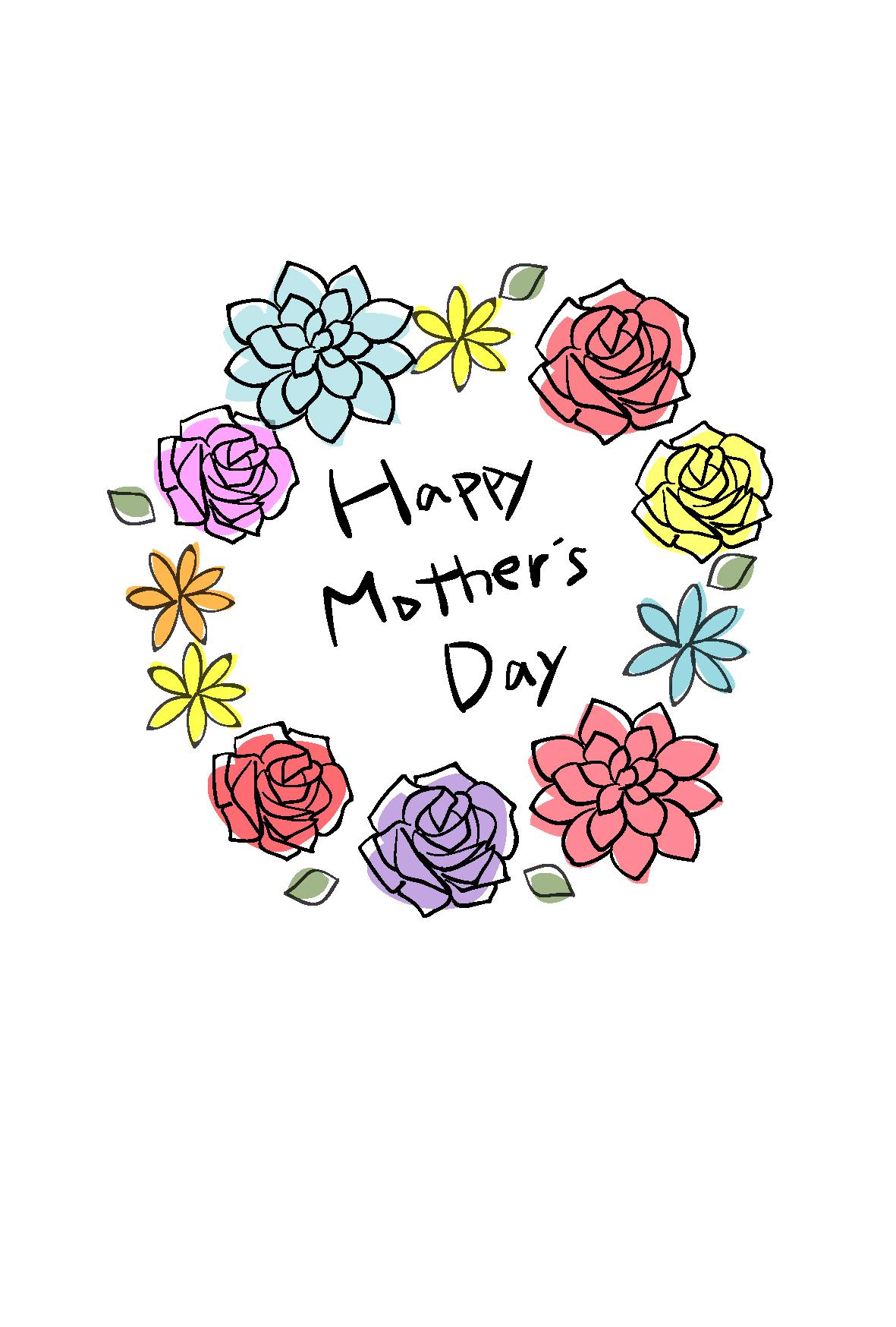 お花のわっか2 : 母の日に送るメッセージカード テンプレート - naver まとめ