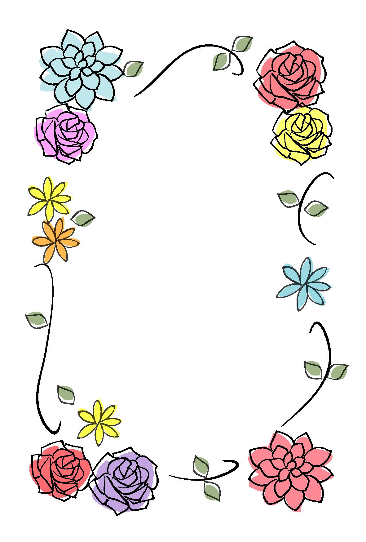 多目的・お花の飾り枠-ダウンロード|かわいい無料イラスト 印刷素材