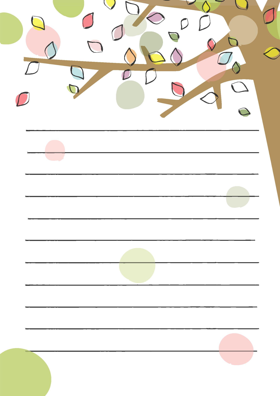 便箋テンプレート「色とりどりの葉っぱと木」ダウンロード|かわいい