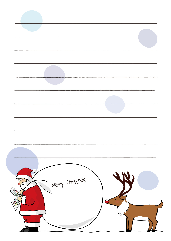 便箋テンプレートクリスマスサンタクロースとトナカイ