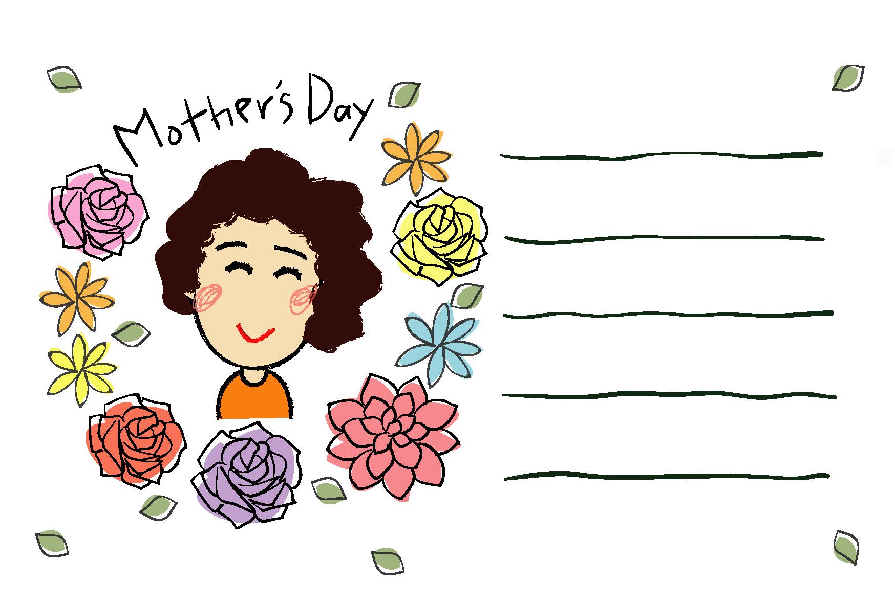 母の日・笑顔のお母さん」ダウンロード|かわいい無料イラスト 印刷素材