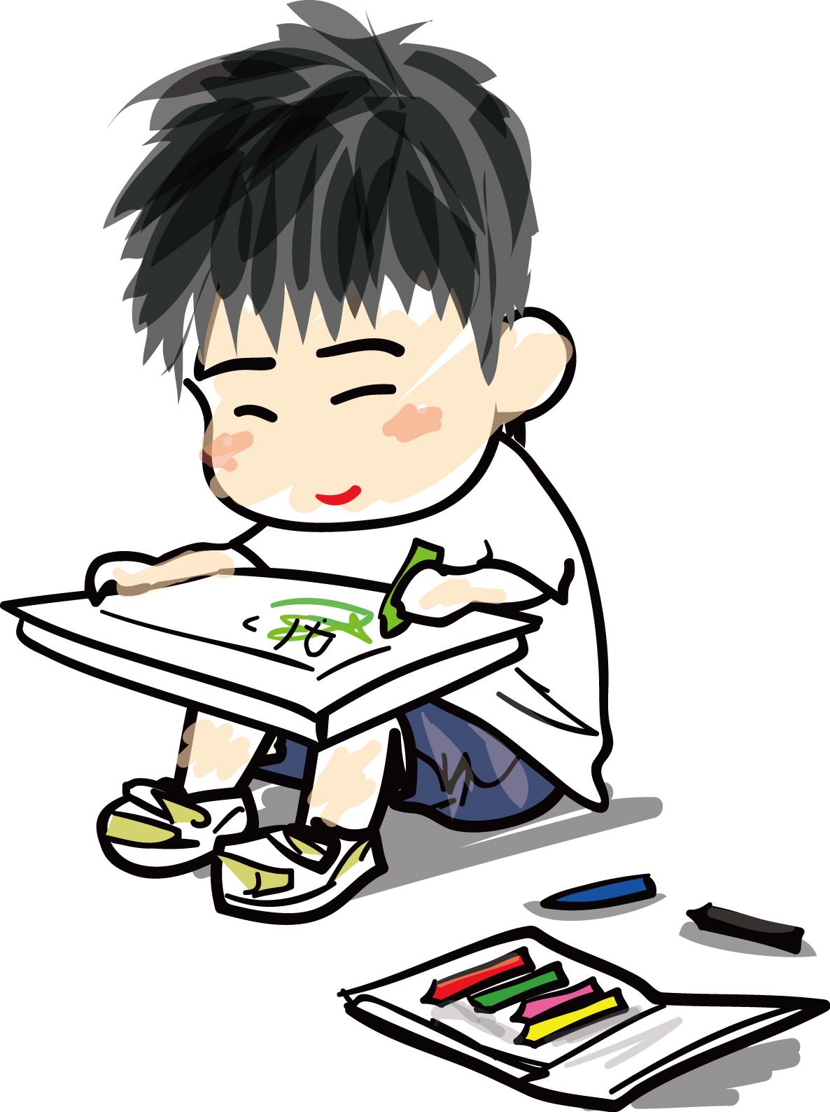 絵を描くこどもの無料イラスト素材ダウンロード|印刷素材.net