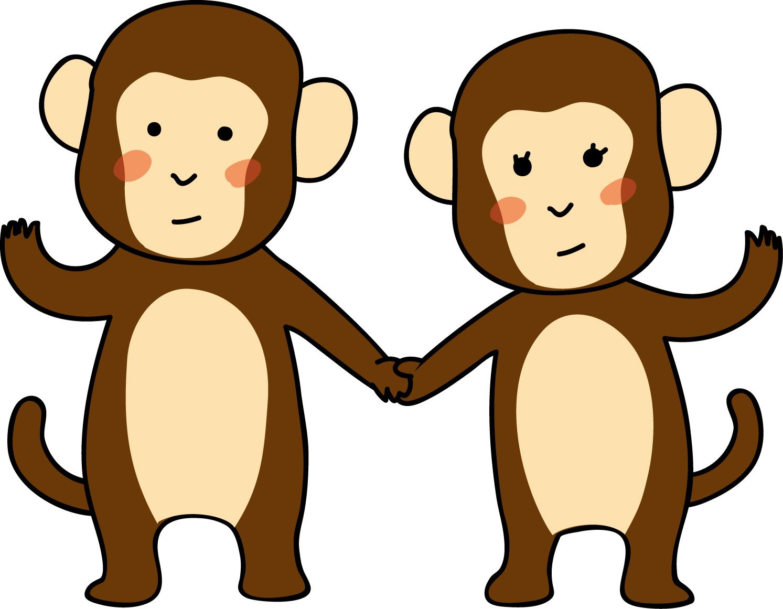 お猿のカップルダウンロード|かわいい無料イラスト 印刷素材