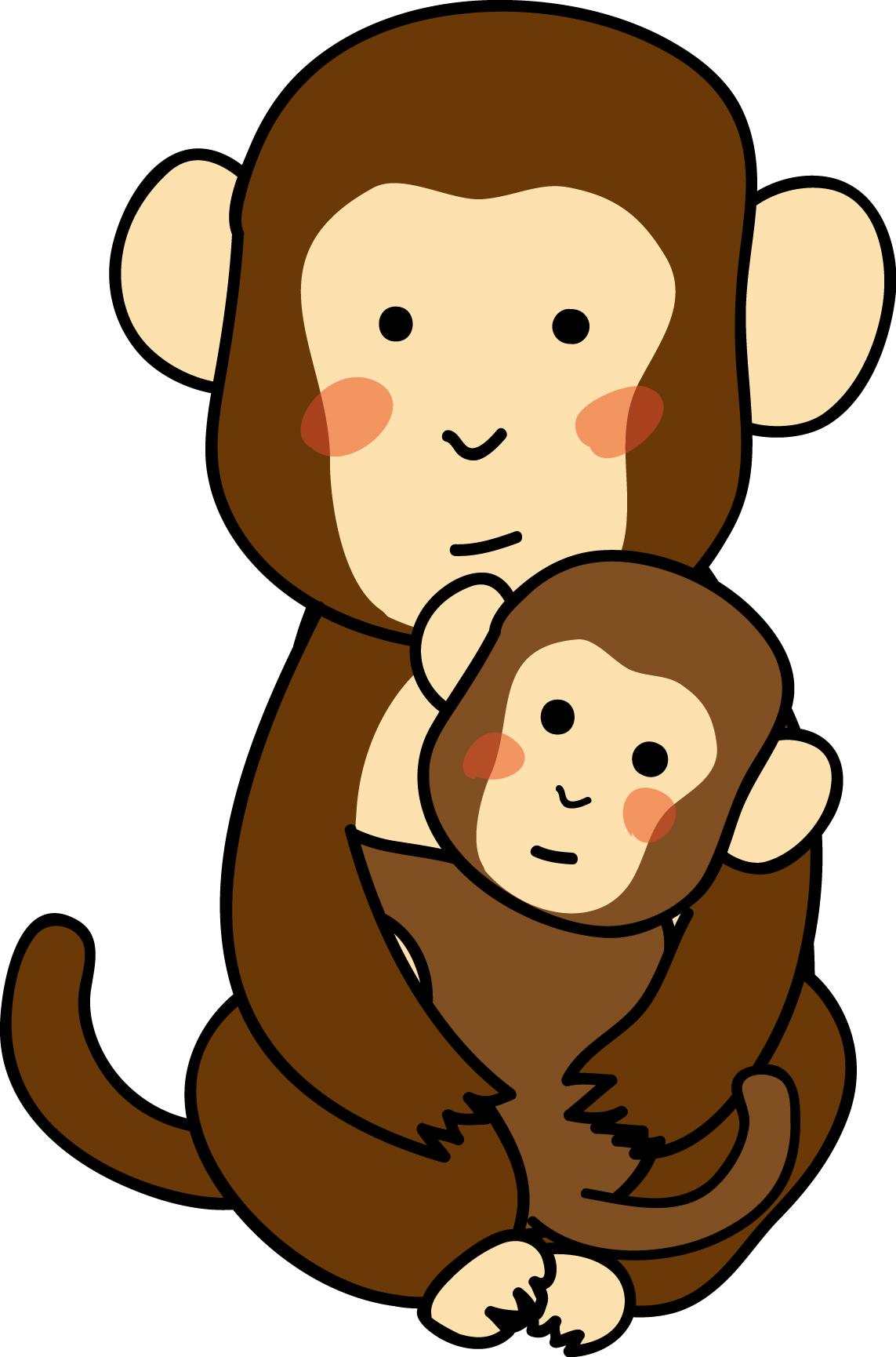 お猿の赤ちゃんとお母さんの素材ダウンロード|かわいい無料イラスト