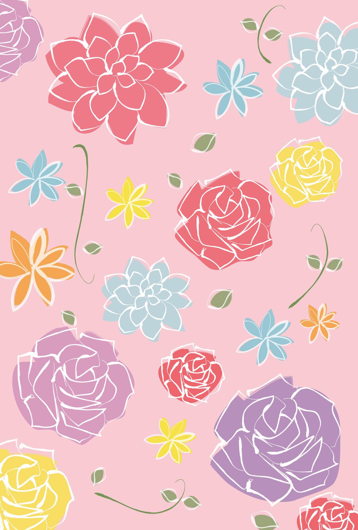 ウェディング・花模様2」ダウンロード|かわいい無料イラスト