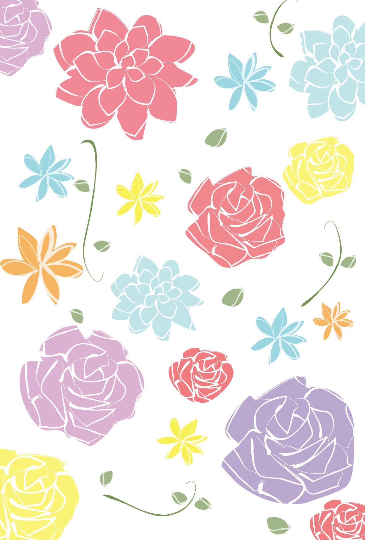 ウェディング・花模様3」ダウンロード|かわいい無料イラスト 印刷素材