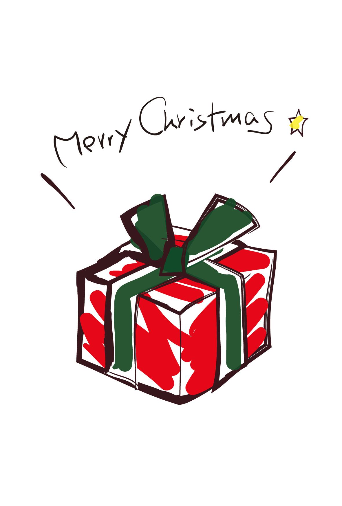 クリスマスのはがき・かわいいプレゼント-ダウンロード|かわいい無料