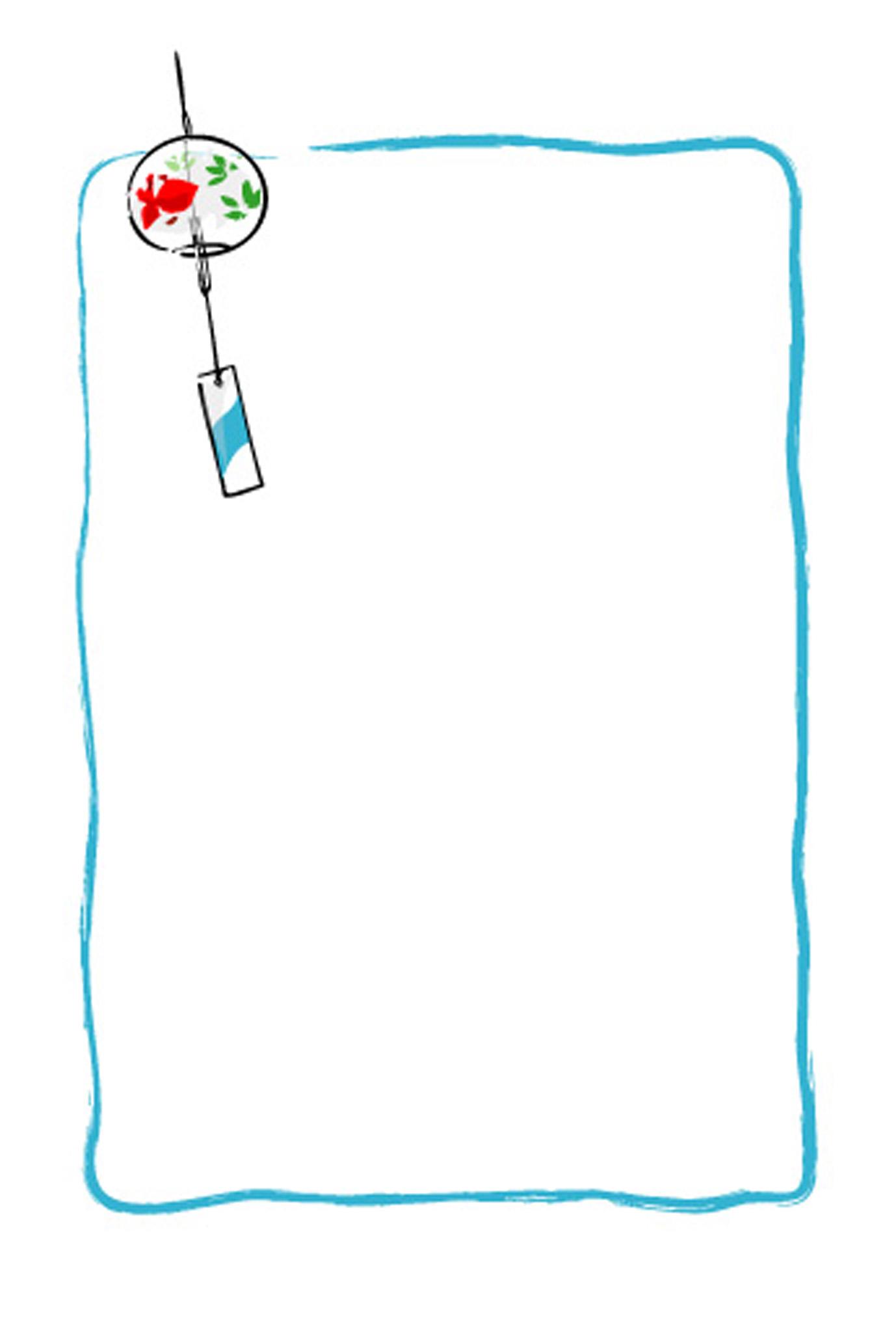 シンプルな風鈴のイラストのはがき。メモ用紙にも : 【無料素材