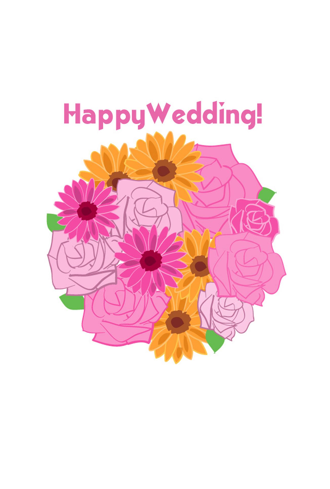 はがきテンプレート・ブーケダウンロード : 【結婚祝い おめでとう