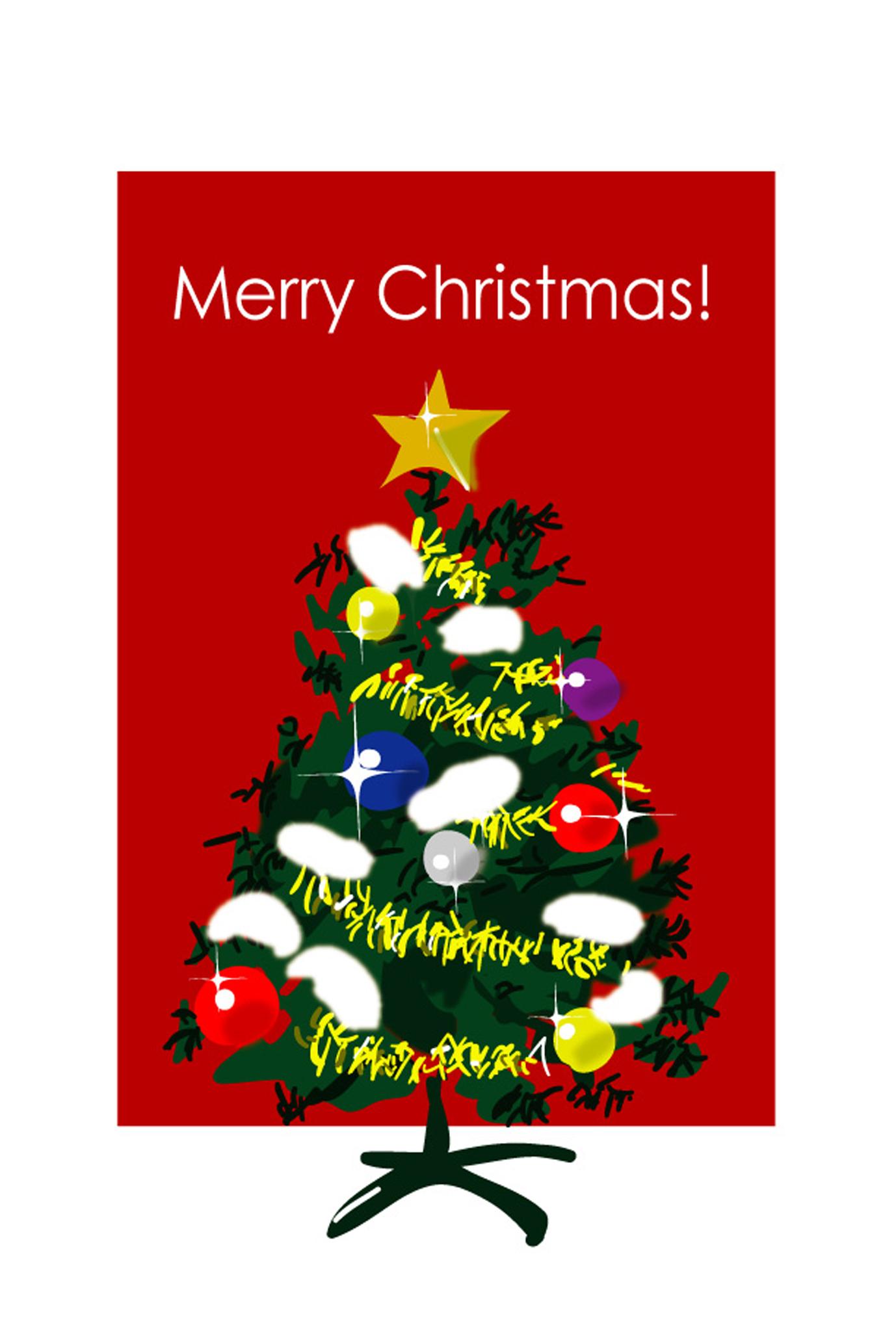 クリスマスカードクリスマスツリー2ダウンロードかわいい