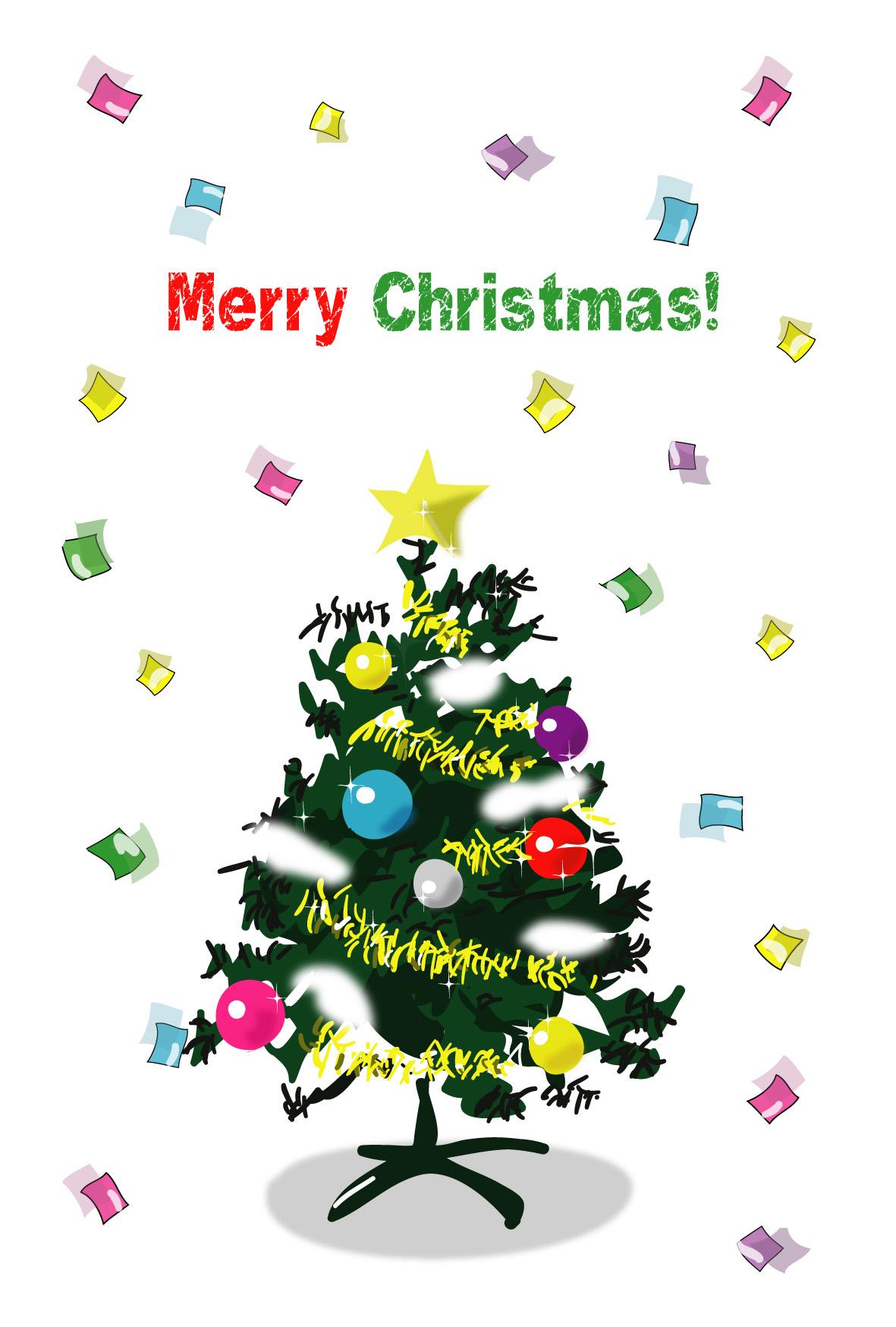 クリスマスはがきクリスマスツリー3ダウンロードかわいい
