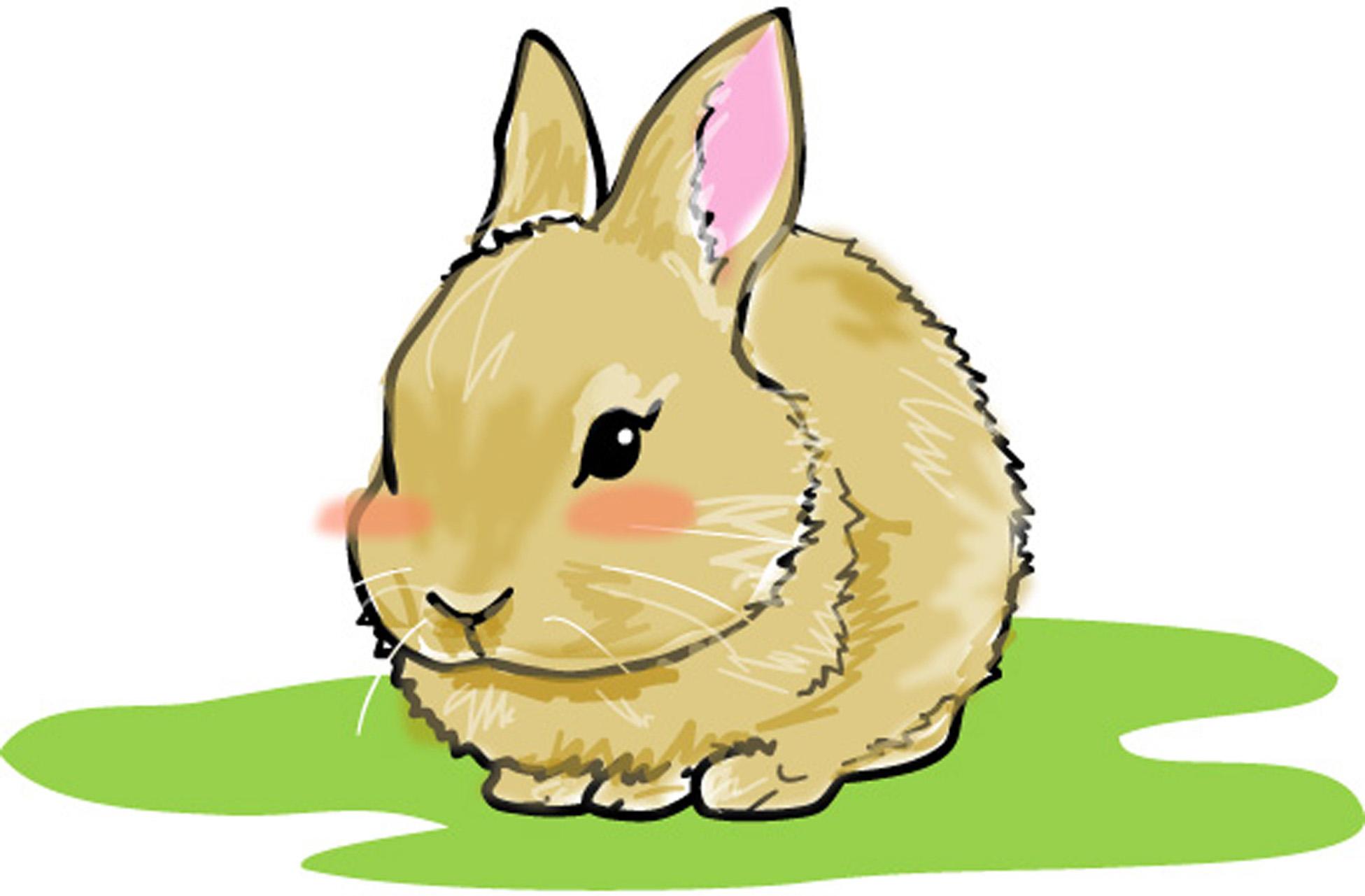 動物の印刷用イラスト素材「芝生のうさぎ」ダウンロード
