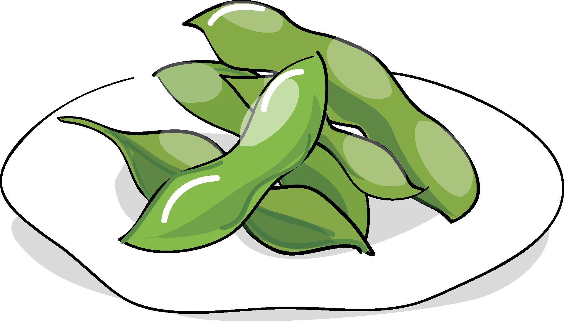 夏の印刷用イラスト素材「夏・食べ物・枝豆」ダウンロード